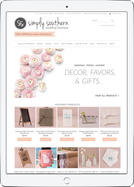 Simply Southern Wedding Boutique Web Design