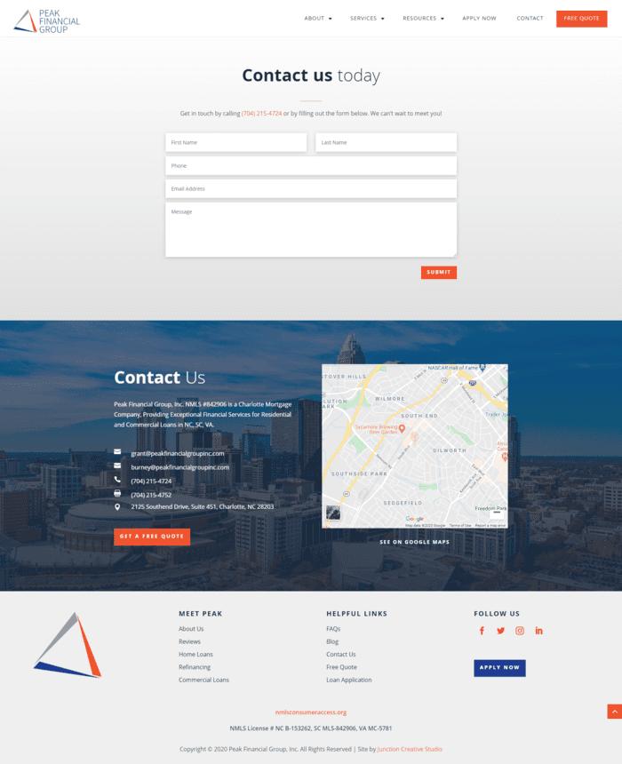 Peak Financial Group, Inc. Commercial Loans Page Design
