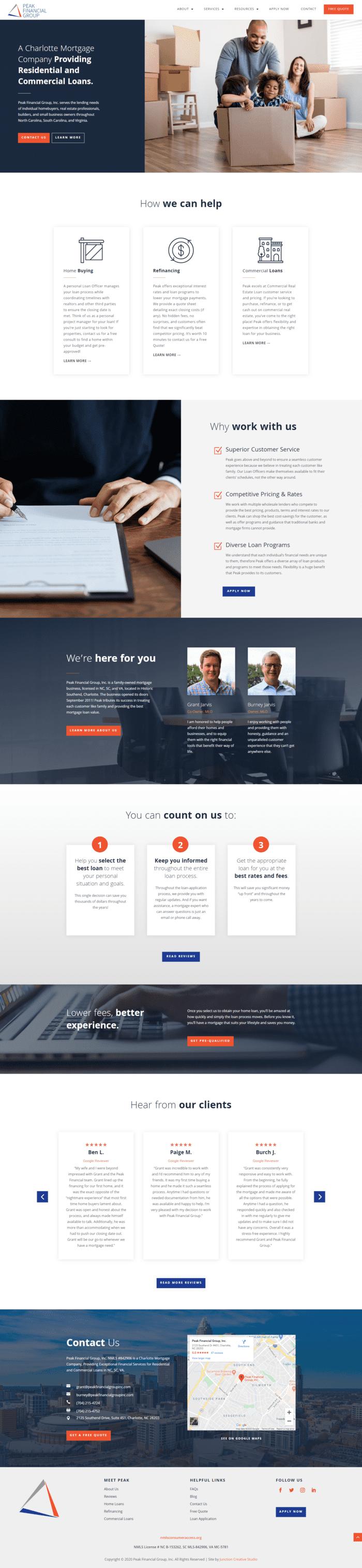 Peak Financial Group, Inc. Homepage Design