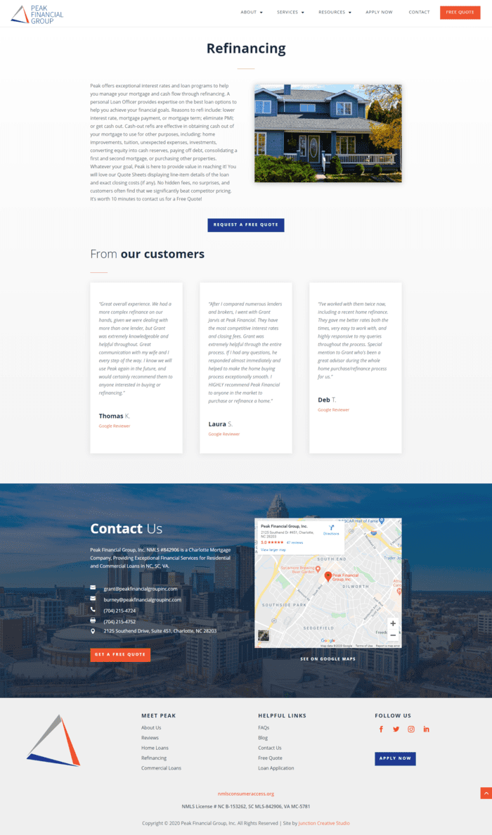 Peak Financial Group, Inc. Refinancing Page Design